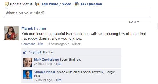 fake facebook status